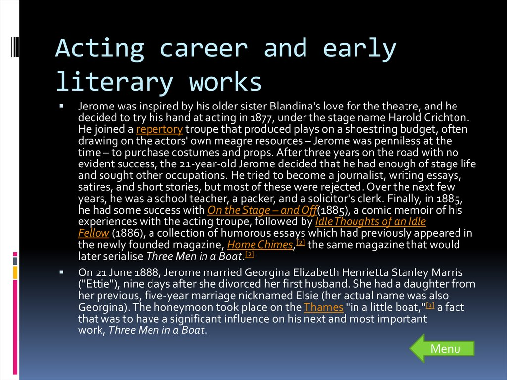 Acting career and early literary works