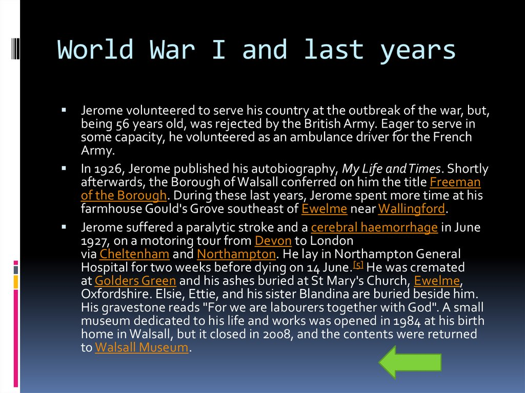 World War I and last years