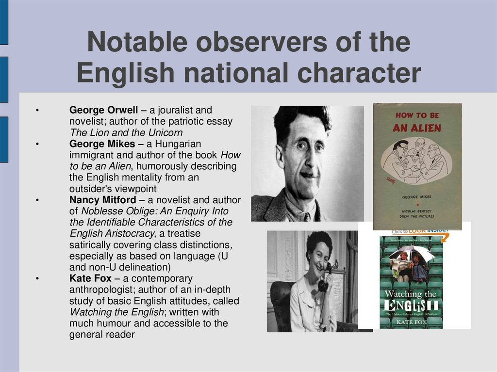 Notable observers of the English national character