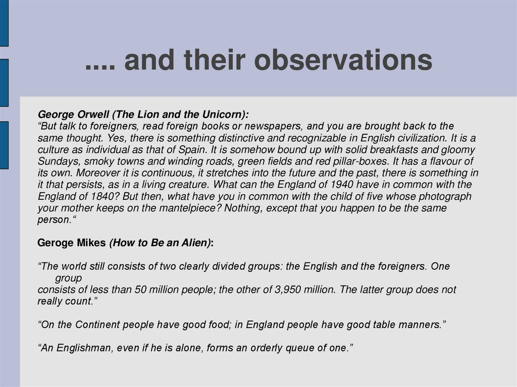 .... and their observations