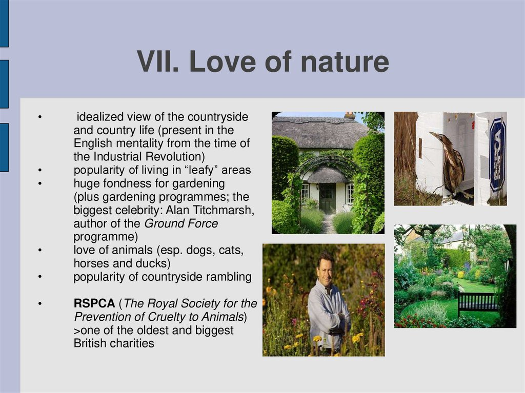 VII. Love of nature
