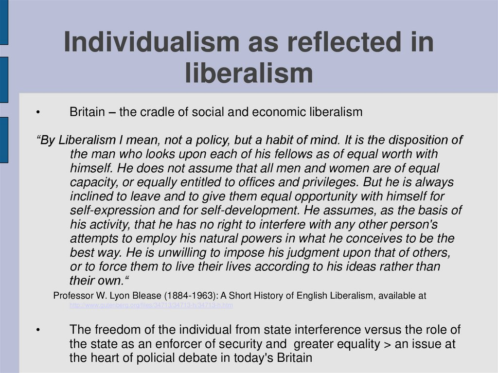 Individualism as reflected in liberalism