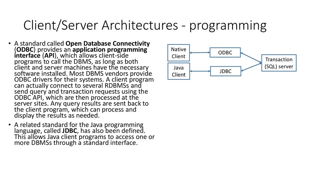 Client/Server Architectures - programming