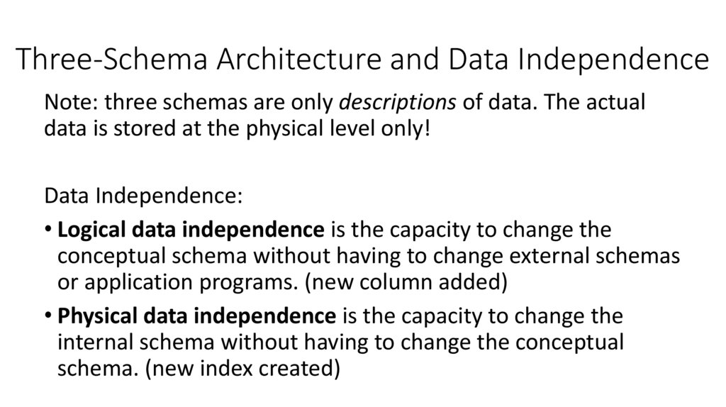 Three-Schema Architecture and Data Independence