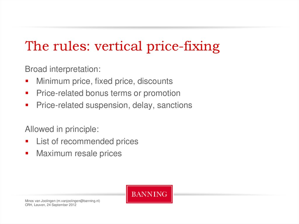 The rules: vertical price-fixing