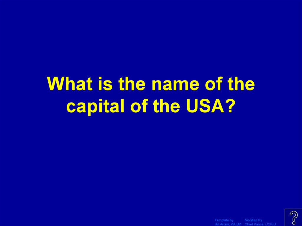 What is the name of the capital of the USA?