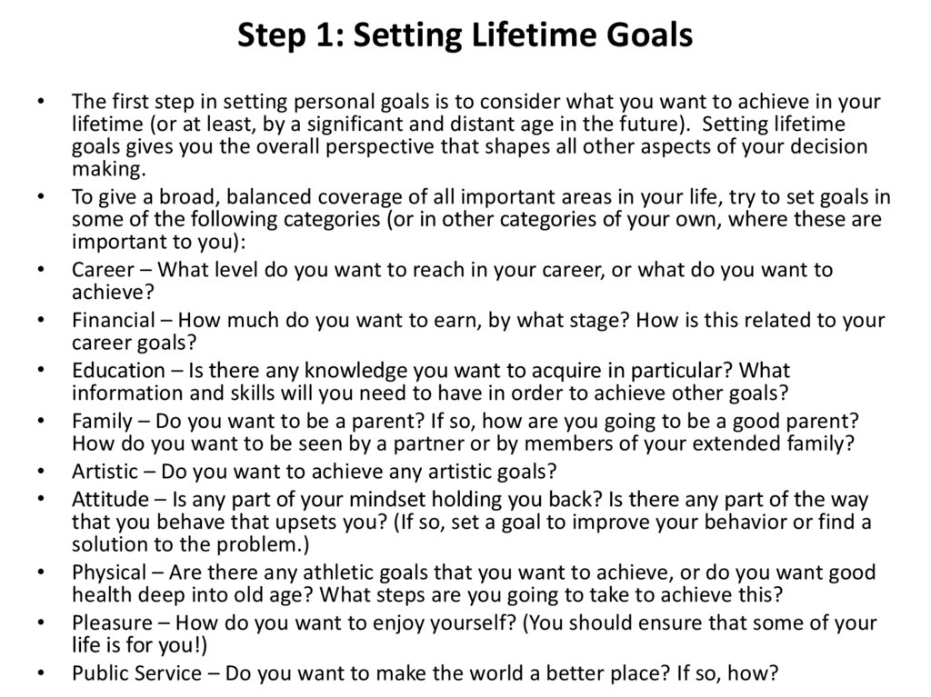 Step 1: Setting Lifetime Goals