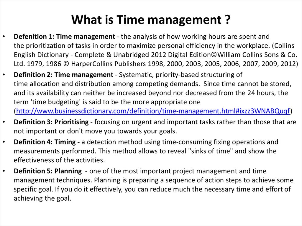 What is Time management ?