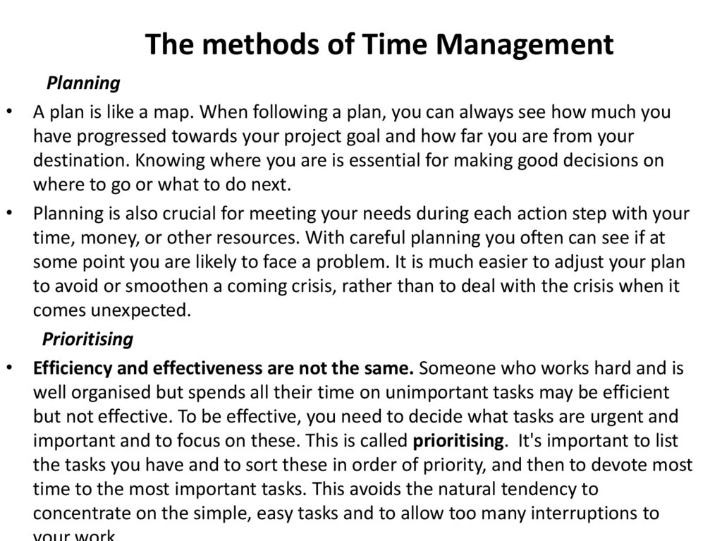 The methods of Time Management
