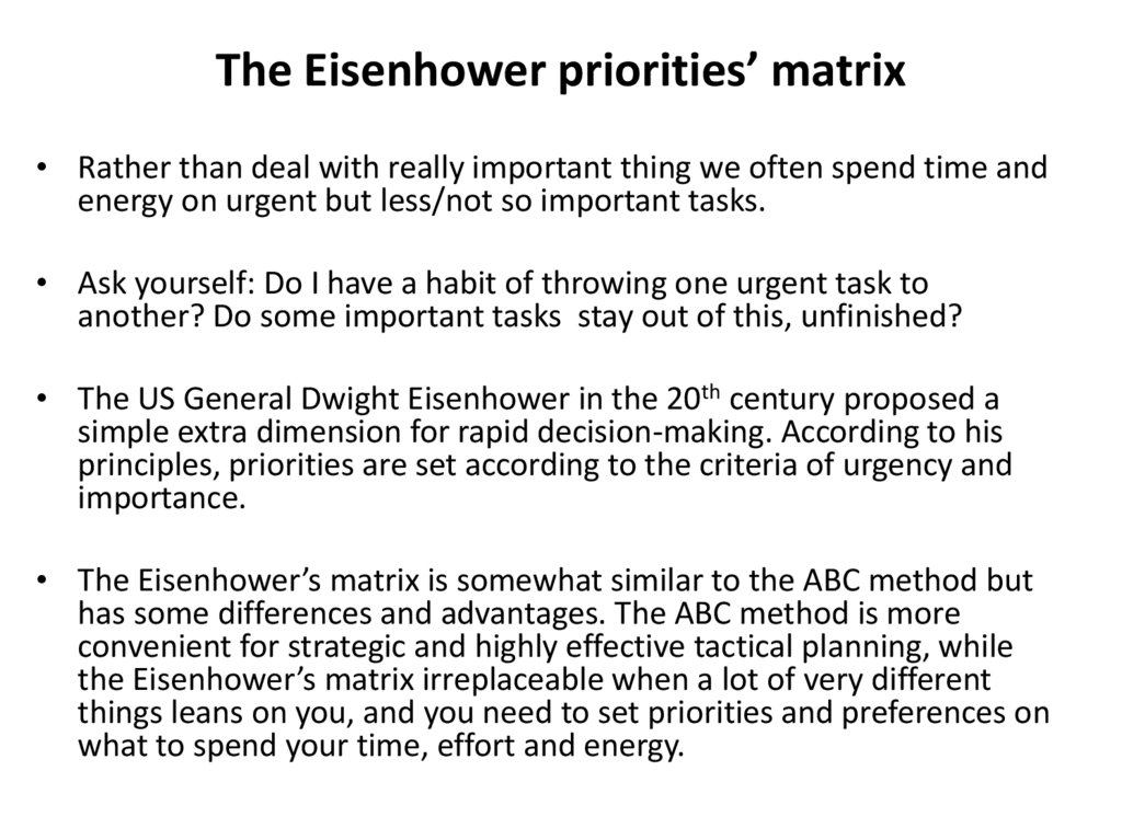 The Eisenhower priorities' matrix