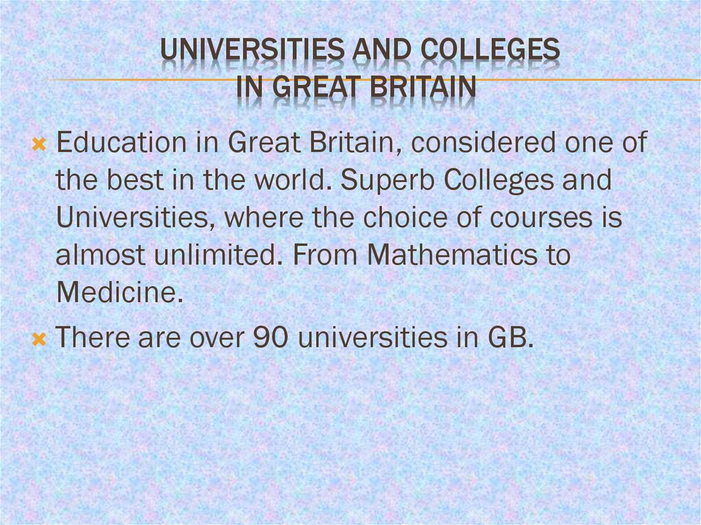 Universities and Colleges in Great Britain
