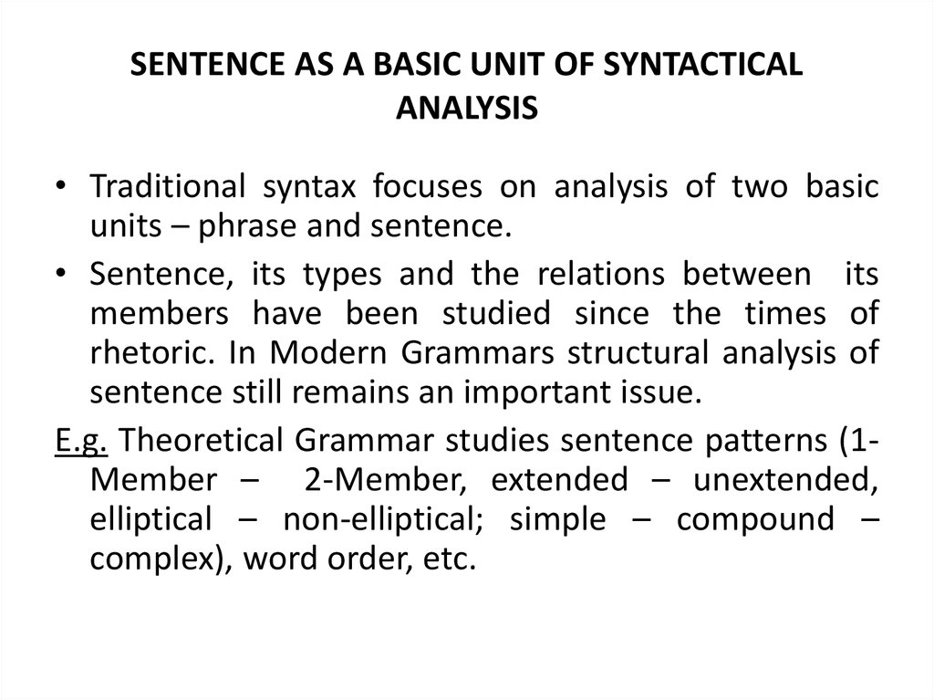 SENTENCE AS A BASIC UNIT OF SYNTACTICAL ANALYSIS