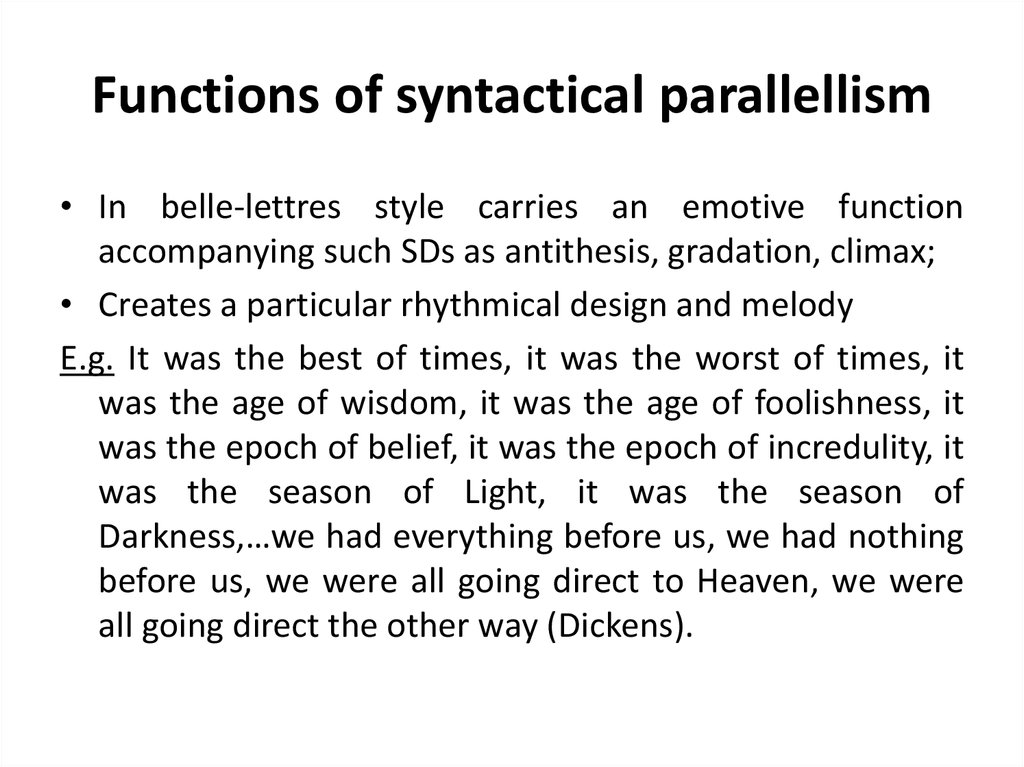 Functions of syntactical parallellism