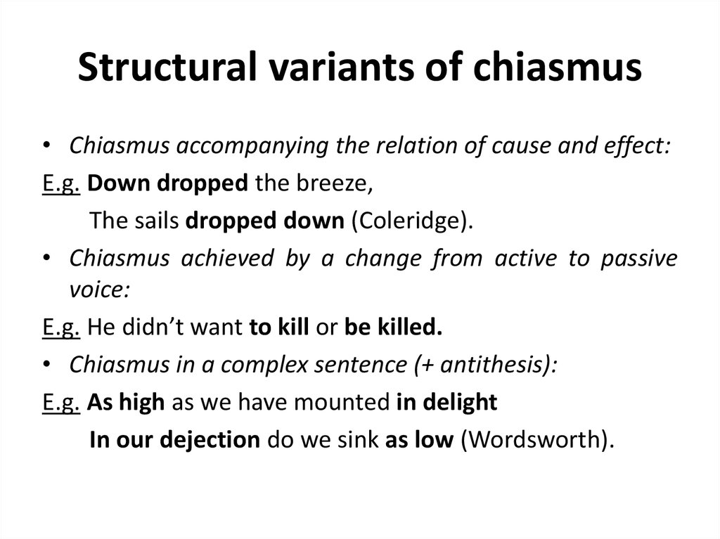 Structural variants of chiasmus