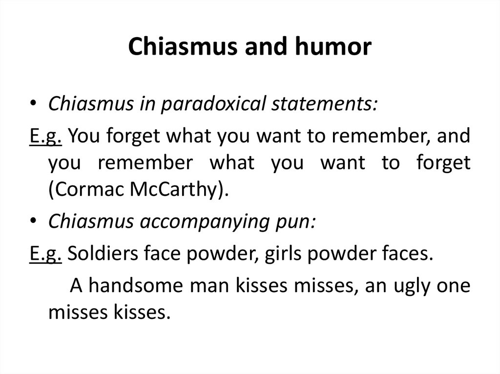Chiasmus and humor
