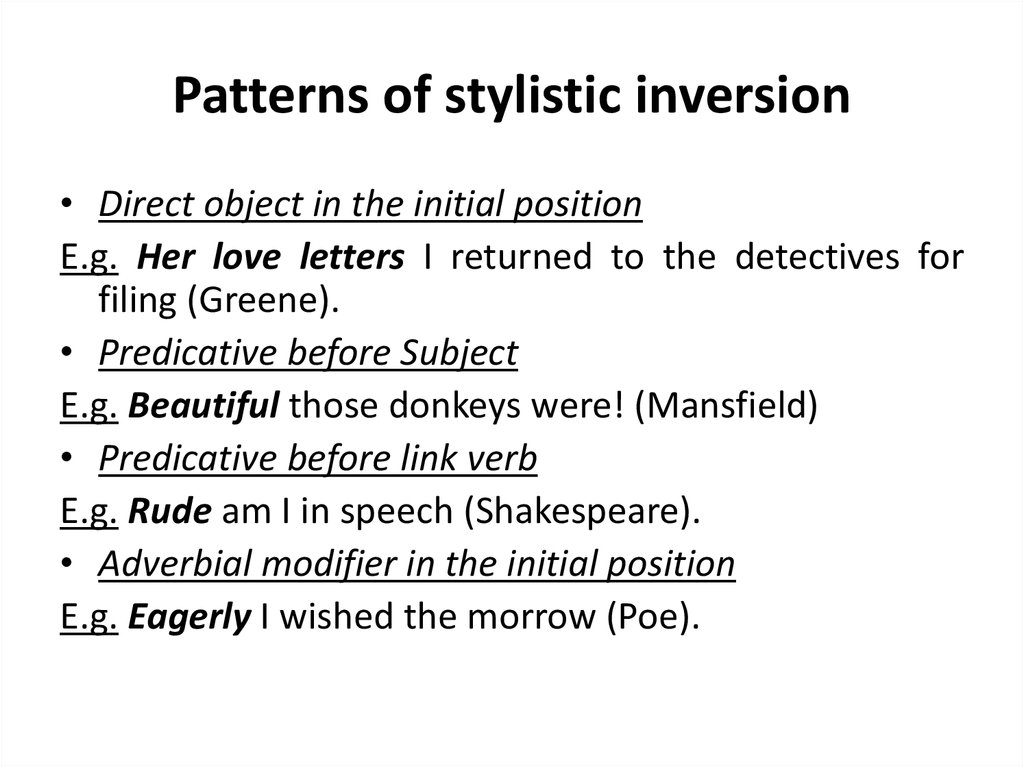 Patterns of stylistic inversion