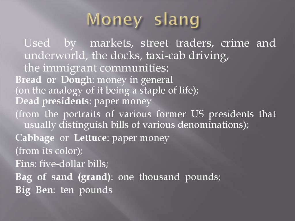 Money slang
