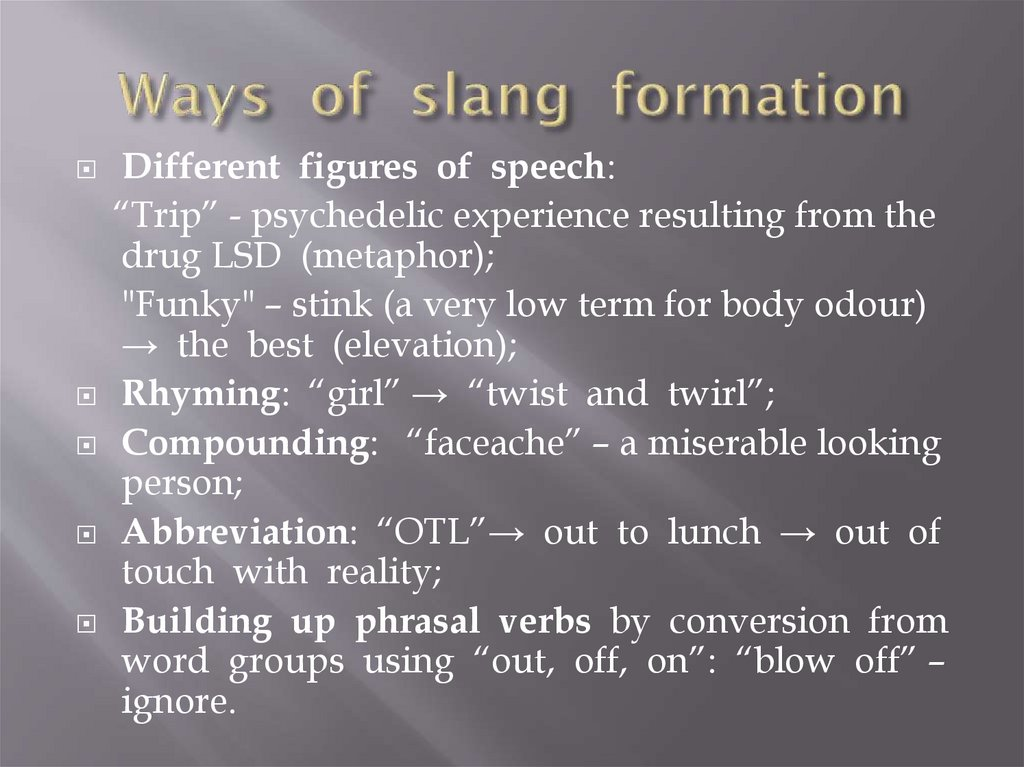 Ways of slang formation