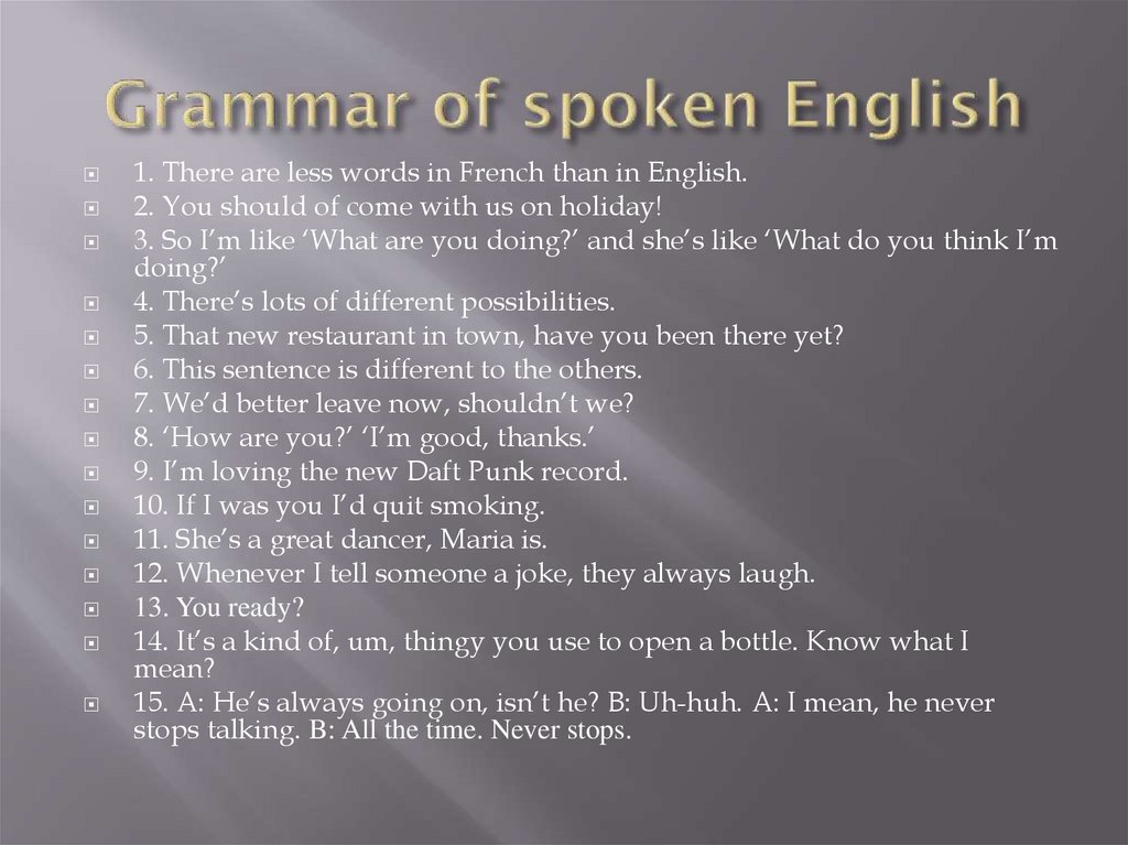 Grammar of spoken English