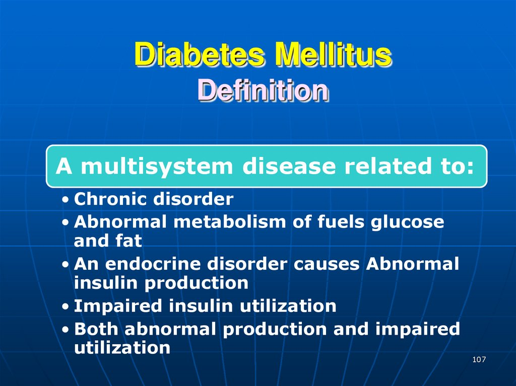 Diabetes Mellitus Definition