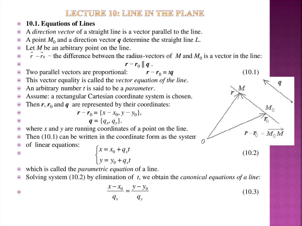 Lecture 10: Line in the Plane
