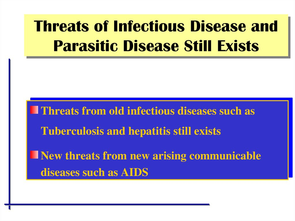 Threats of Infectious Disease and Parasitic Disease Still Exists