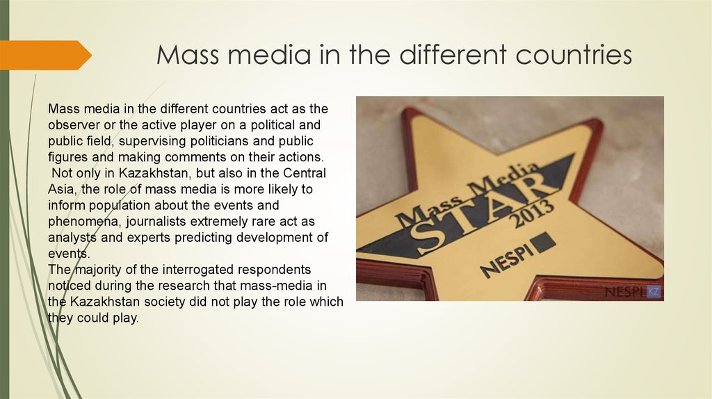 Mass media in the different countries