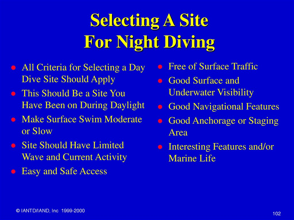 Selecting A Site For Night Diving