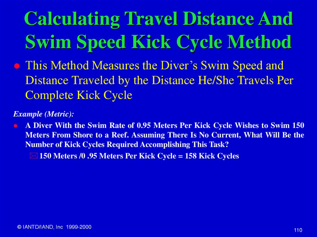Calculating Travel Distance And Swim Speed Kick Cycle Method