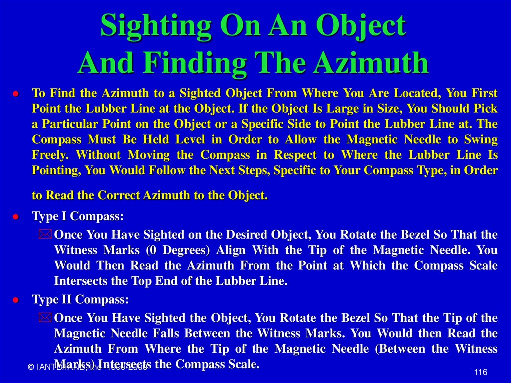 Sighting On An Object And Finding The Azimuth