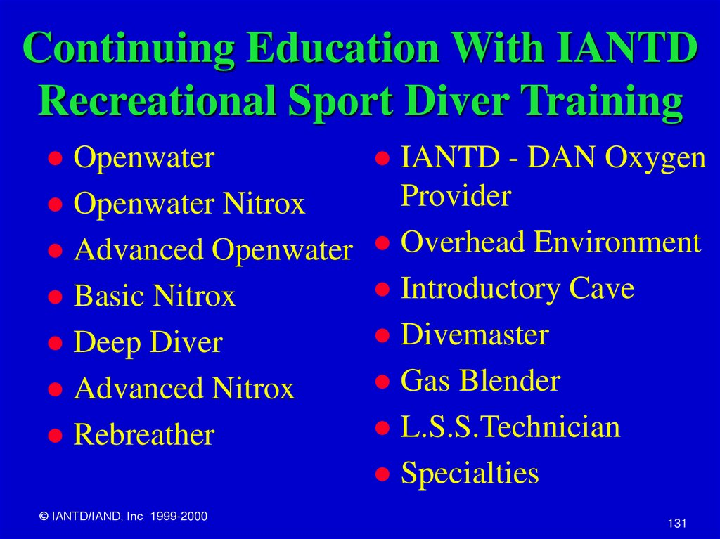Continuing Education With IANTD Recreational Sport Diver Training