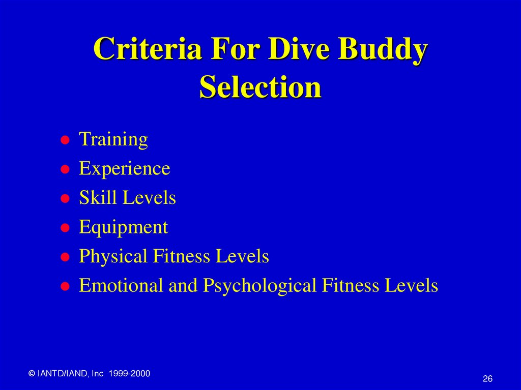Criteria For Dive Buddy Selection