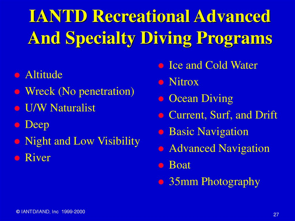 IANTD Recreational Advanced And Specialty Diving Programs