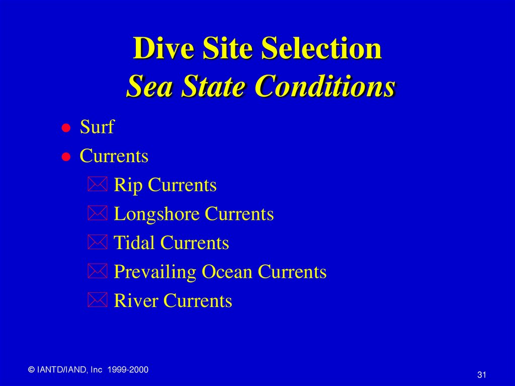 Dive Site Selection Sea State Conditions