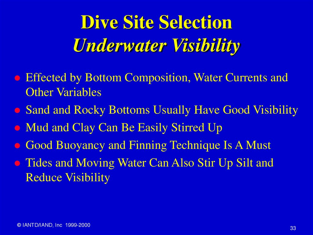 Dive Site Selection Underwater Visibility