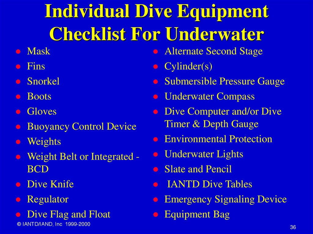 Individual Dive Equipment Checklist For Underwater