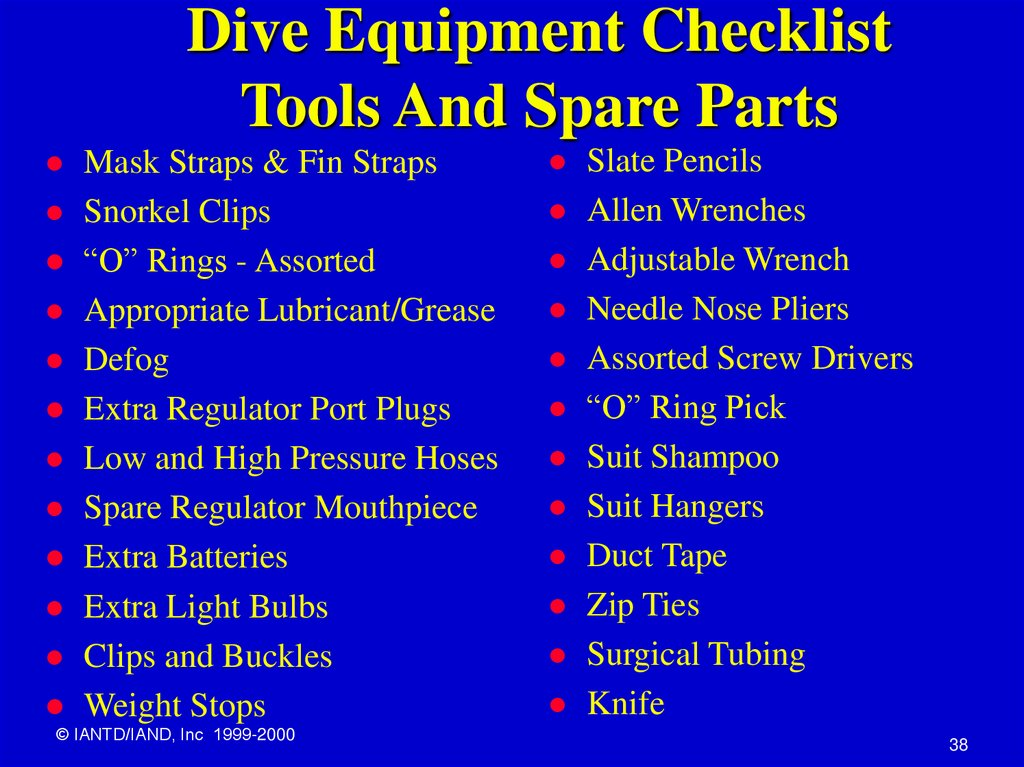 Dive Equipment Checklist Tools And Spare Parts