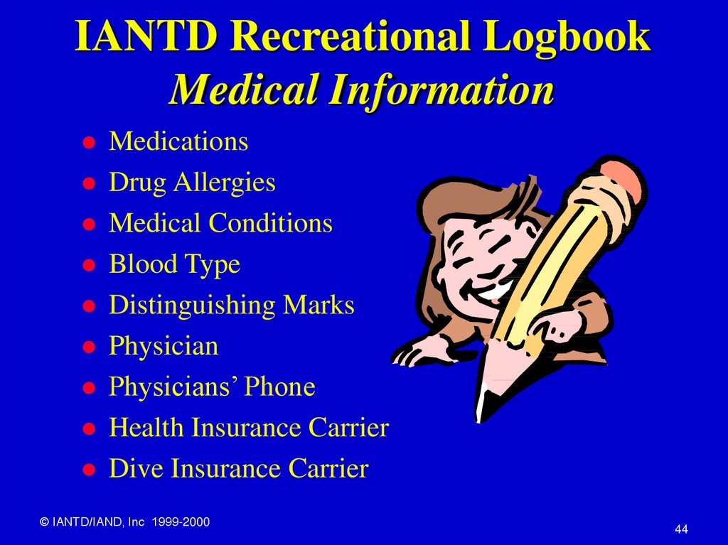 IANTD Recreational Logbook Medical Information