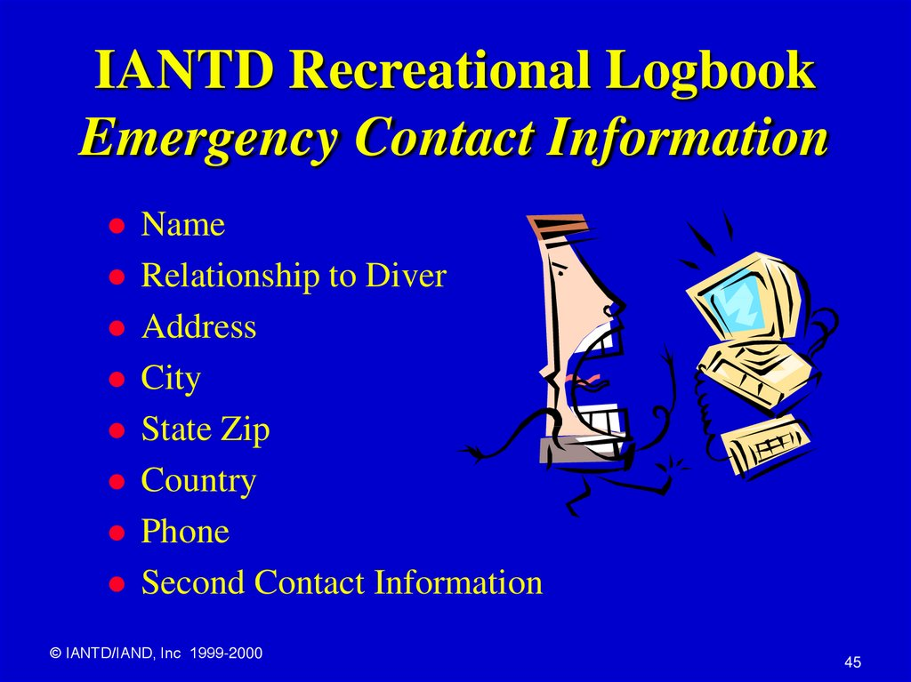 IANTD Recreational Logbook Emergency Contact Information