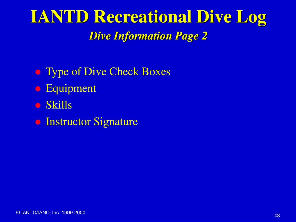 IANTD Recreational Dive Log Dive Information Page 2