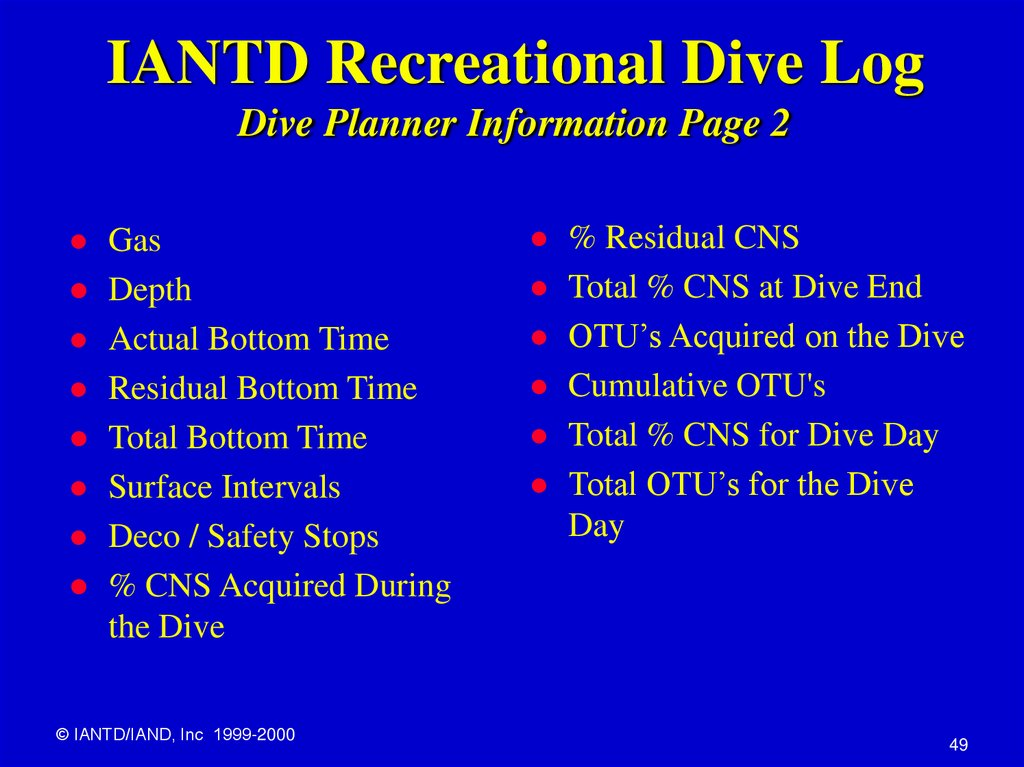 IANTD Recreational Dive Log Dive Planner Information Page 2