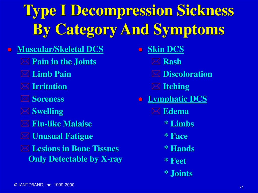 Type I Decompression Sickness By Category And Symptoms