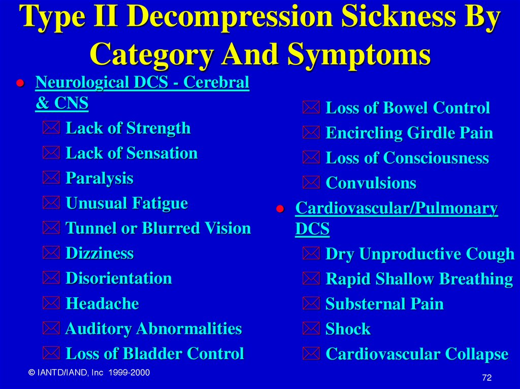 Type II Decompression Sickness By Category And Symptoms