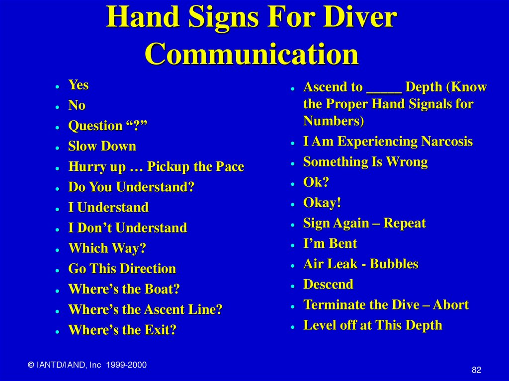 Hand Signs For Diver Communication