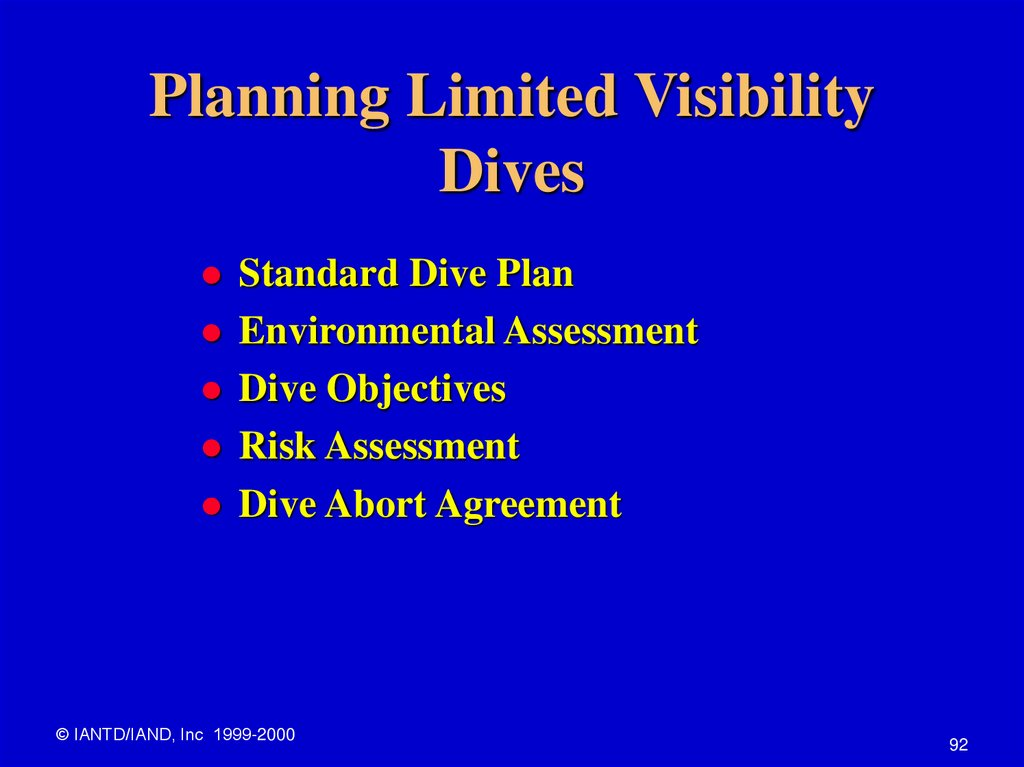 Planning Limited Visibility Dives