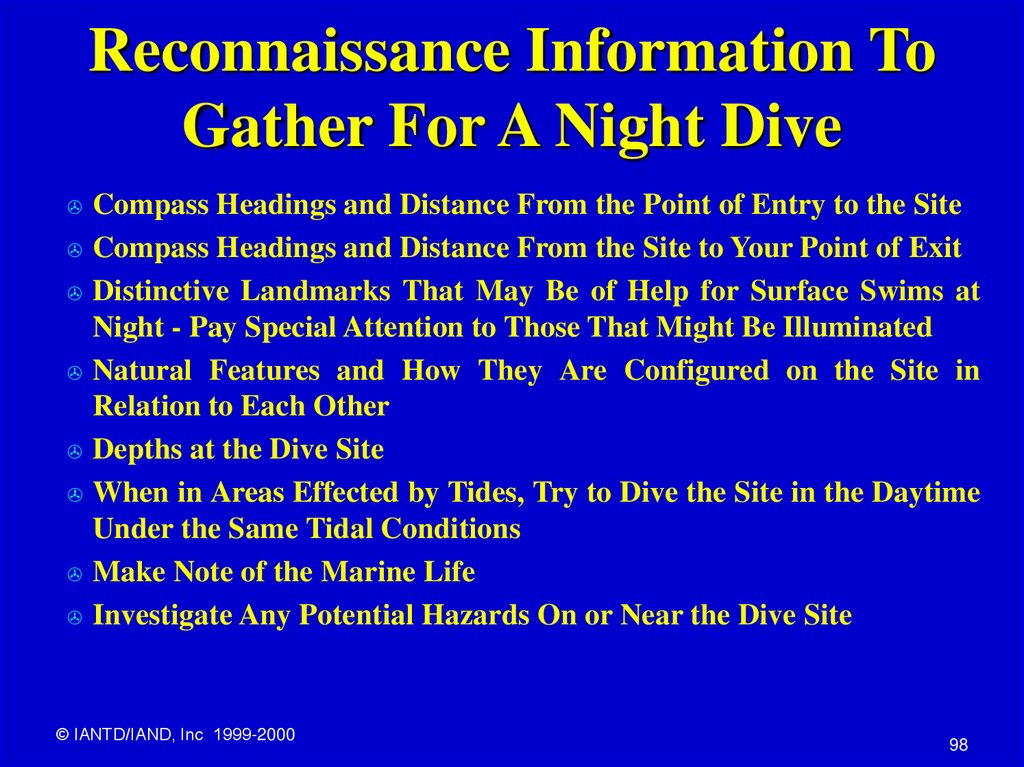 Reconnaissance Information To Gather For A Night Dive