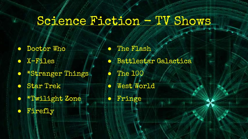 Science Fiction - TV Shows