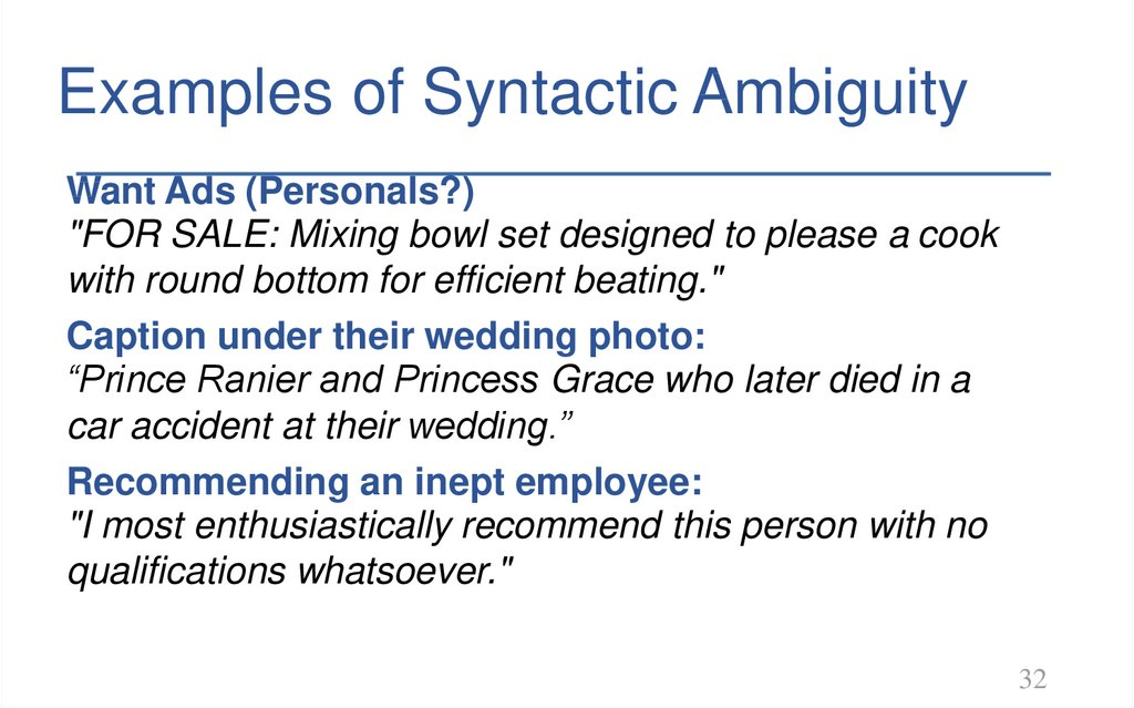 Examples of Syntactic Ambiguity