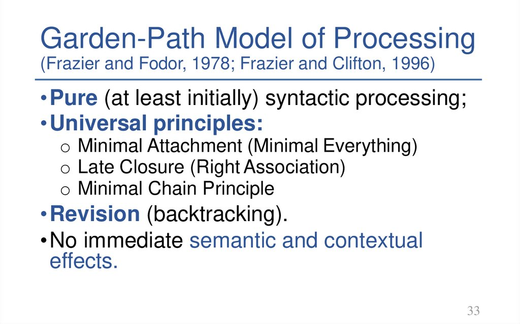 Garden-Path Model of Processing
