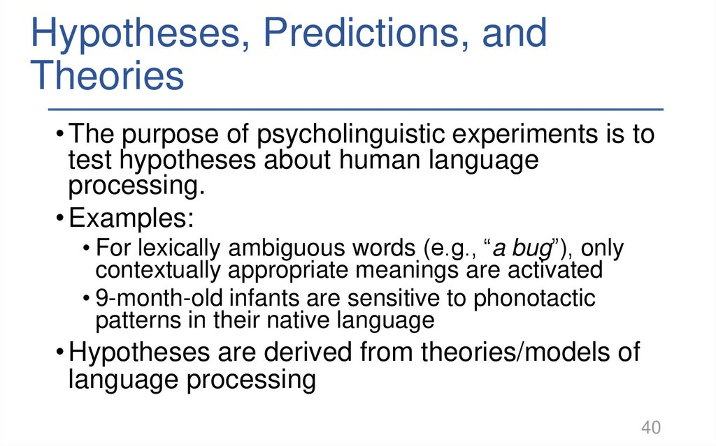 Hypotheses, Predictions, and Theories